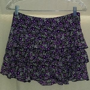 Purple Floral Mini Skirt Tier Ruffle Size M